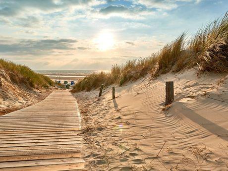 Holzpfad durch die Dünen mit Sonnenuntergang über dem Meer im Hintergrund